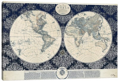 Blue Map of the World Canvas Art Print