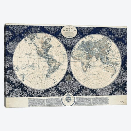 Blue Map of the World Canvas Print #EME113} by Elizabeth Medley Art Print