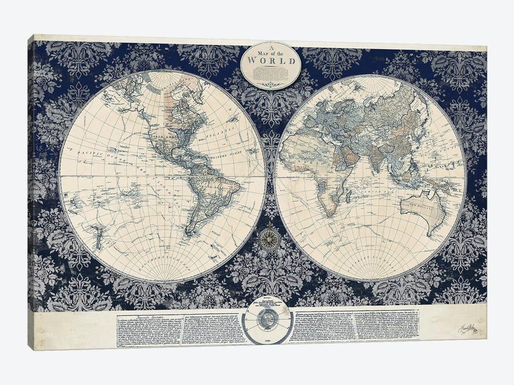 Blue Map of the World by Elizabeth Medley 1-piece Canvas Print