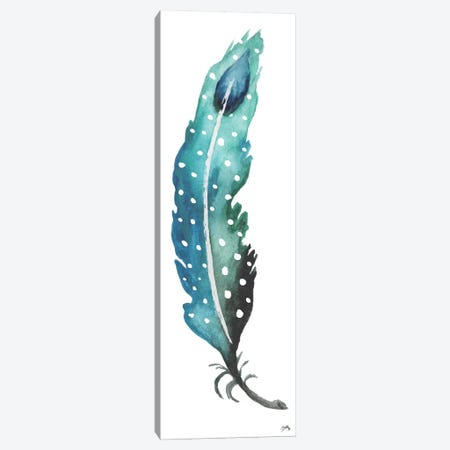 Dotted Blue Feather I Canvas Print #EME130} by Elizabeth Medley Canvas Art Print