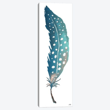 Dotted Blue Feather II Canvas Print #EME131} by Elizabeth Medley Canvas Art Print