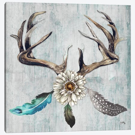 Feathery Antlers I Canvas Print #EME134} by Elizabeth Medley Canvas Wall Art