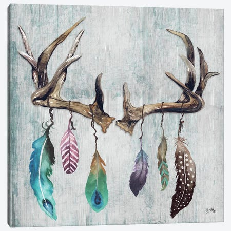 Feathery Antlers II Canvas Print #EME135} by Elizabeth Medley Canvas Wall Art