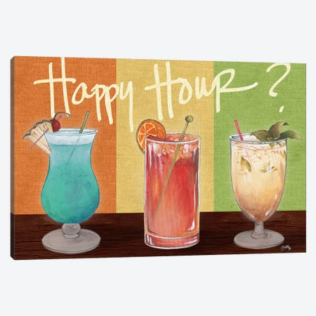 Happy Hour Drinks Canvas Print #EME142} by Elizabeth Medley Canvas Art