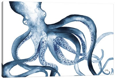 Octopus in the Blues Canvas Art Print