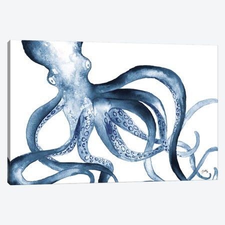 Octopus in the Blues 3-Piece Canvas #EME158} by Elizabeth Medley Canvas Print