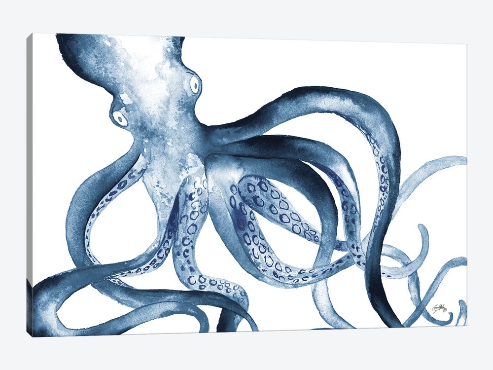 Octopus in the Blues by Elizabeth Medley 1-piece Canvas Art