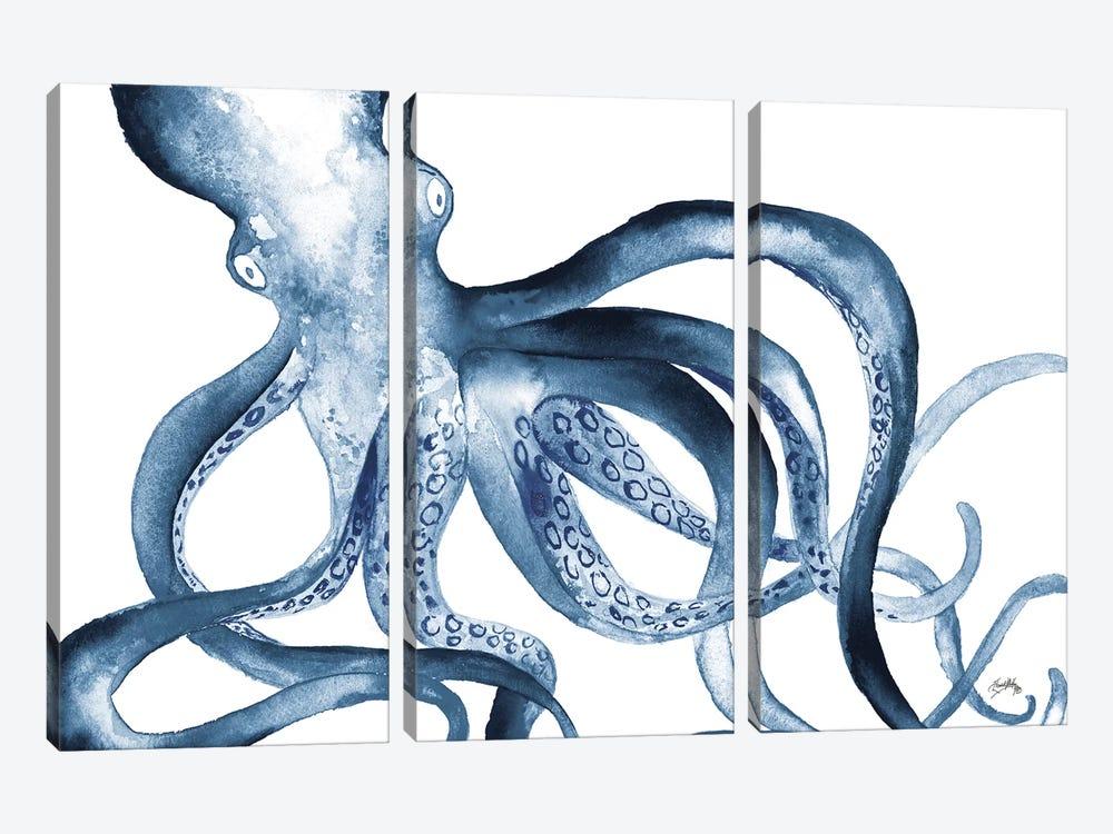 Octopus in the Blues by Elizabeth Medley 3-piece Canvas Art