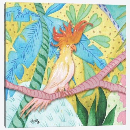 Playful Parrot Canvas Print #EME162} by Elizabeth Medley Canvas Art