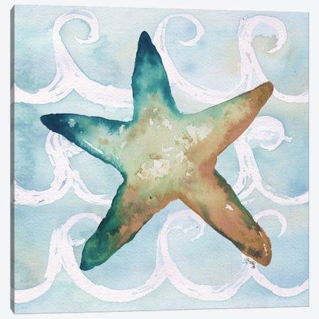 Sea Creatures on Waves I Canvas Print #EME164} by Elizabeth Medley Canvas Art Print