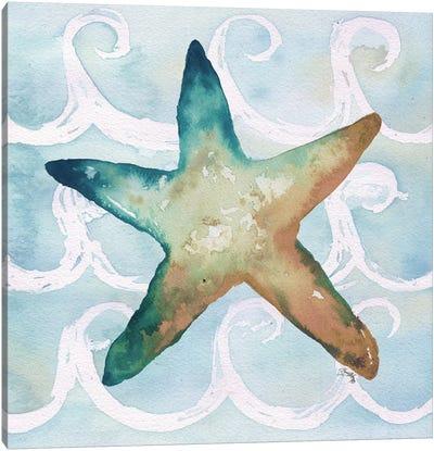 Sea Creatures on Waves I Canvas Art Print