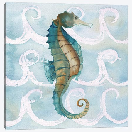Sea Creatures on Waves II Canvas Print #EME165} by Elizabeth Medley Canvas Print