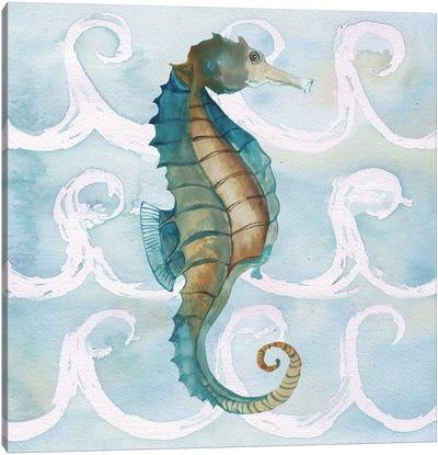 Sea Creatures on Waves II Canvas Art Print