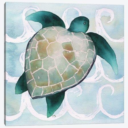 Sea Creatures on Waves III Canvas Print #EME166} by Elizabeth Medley Canvas Art Print