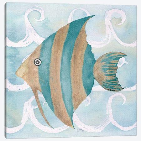 Sea Creatures on Waves IV Canvas Print #EME167} by Elizabeth Medley Canvas Print