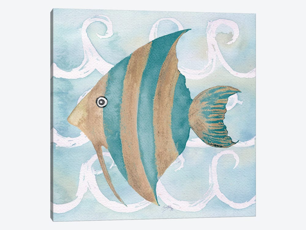 Sea Creatures on Waves IV by Elizabeth Medley 1-piece Canvas Art