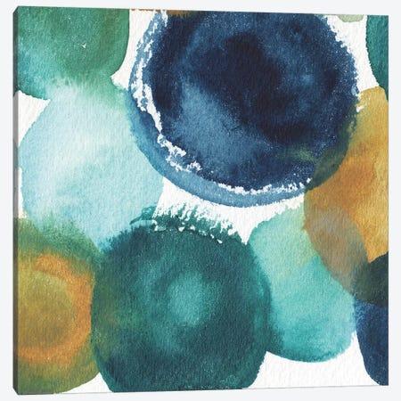 Teal Watermarks Square I Canvas Print #EME169} by Elizabeth Medley Canvas Artwork