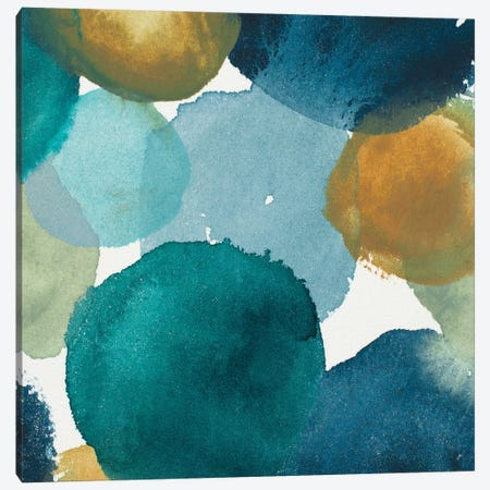 Teal Watermarks Square II Canvas Print #EME170} by Elizabeth Medley Canvas Print