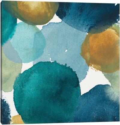 Teal Watermarks Square II Canvas Art Print
