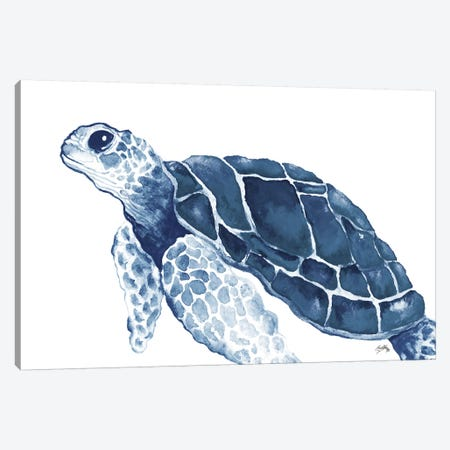Turtle in the Blues Canvas Print #EME176} by Elizabeth Medley Canvas Art