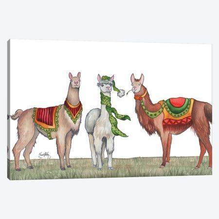 Christmas Llamas Canvas Print #EME196} by Elizabeth Medley Canvas Wall Art
