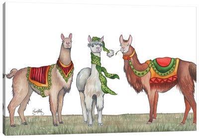Christmas Llamas Canvas Art Print