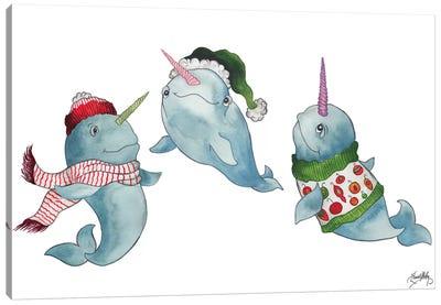 Christmas Narwhals Canvas Art Print
