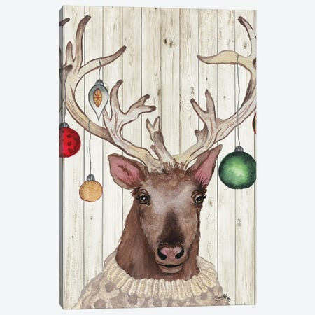 Christmas Reindeer II Canvas Print #EME199} by Elizabeth Medley Canvas Print