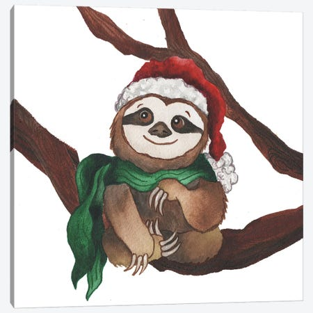 Christmas Sloth I Canvas Print #EME200} by Elizabeth Medley Art Print