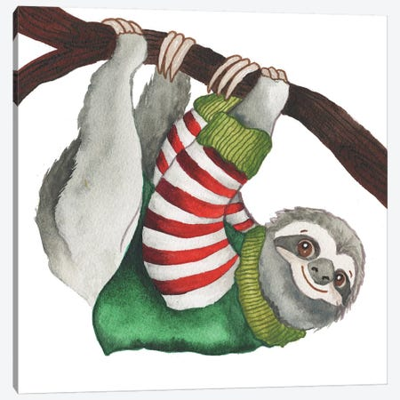 Christmas Sloth II Canvas Print #EME201} by Elizabeth Medley Art Print