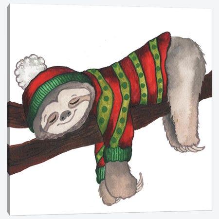 Christmas Sloth III Canvas Print #EME202} by Elizabeth Medley Canvas Print