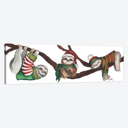 Christmas Sloths Canvas Print #EME203} by Elizabeth Medley Canvas Art Print