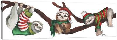 Christmas Sloths Canvas Art Print