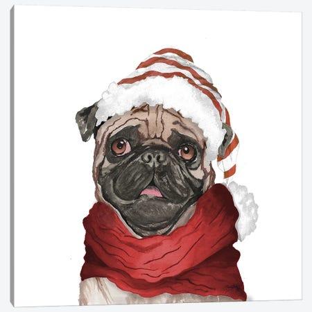 Holiday Pug Canvas Print #EME205} by Elizabeth Medley Canvas Art