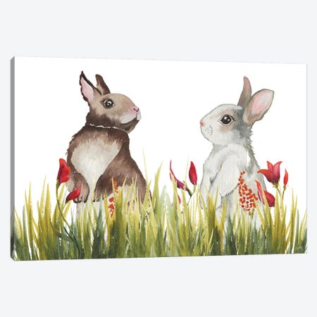 Bunnies Among The Flowers I 3-Piece Canvas #EME211} by Elizabeth Medley Canvas Wall Art