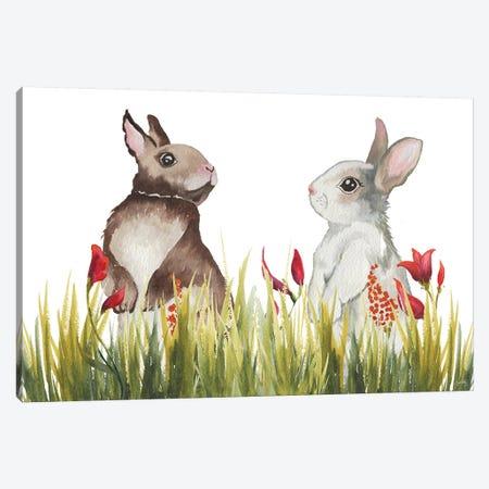 Bunnies Among The Flowers I Canvas Print #EME211} by Elizabeth Medley Canvas Wall Art