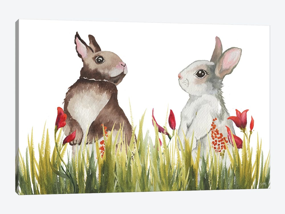Bunnies Among The Flowers I by Elizabeth Medley 1-piece Canvas Print