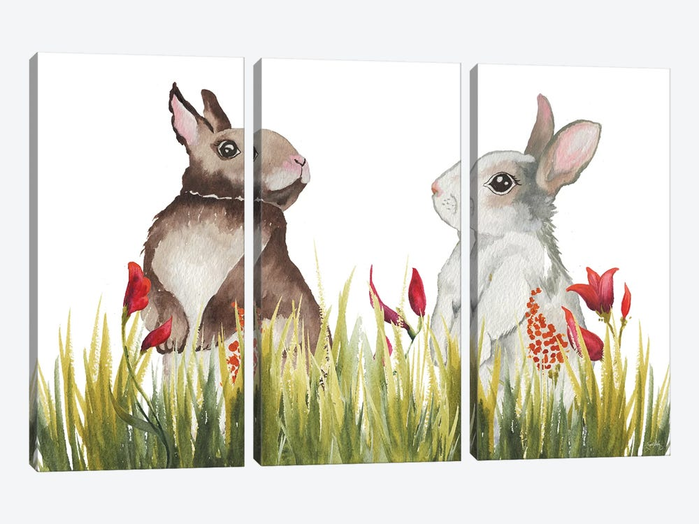 Bunnies Among The Flowers I by Elizabeth Medley 3-piece Canvas Print