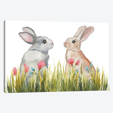 Bunnies Among The Flowers II 3-Piece Canvas #EME212} by Elizabeth Medley Canvas Wall Art