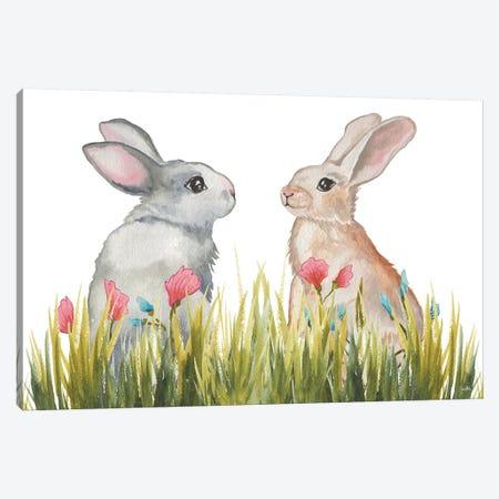Bunnies Among The Flowers II Canvas Print #EME212} by Elizabeth Medley Canvas Wall Art