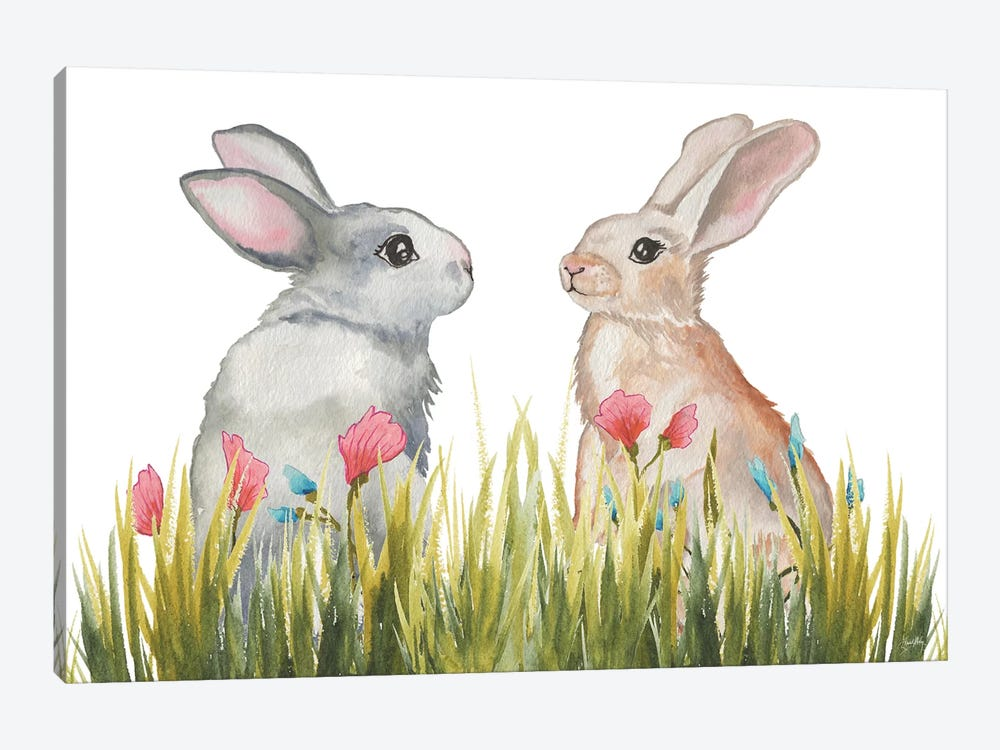 Bunnies Among The Flowers II by Elizabeth Medley 1-piece Canvas Artwork
