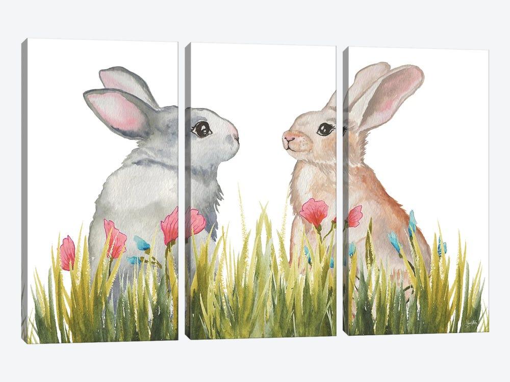Bunnies Among The Flowers II by Elizabeth Medley 3-piece Canvas Art
