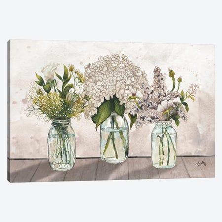 Jars Of Wildflowers 3-Piece Canvas #EME215} by Elizabeth Medley Art Print