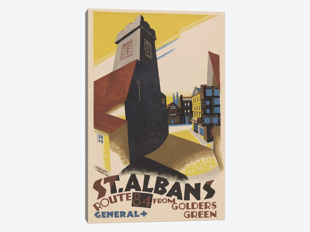 St. Albans Route 84 From Golders Green by Edward McKnight Kauffer 1-piece Canvas Art