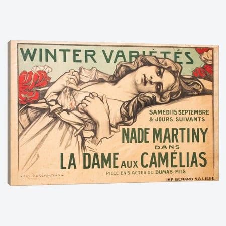 Winter Variétés, La Dame aux Camélias, 1900 Canvas Print #EML1} by Emile Berchmans Canvas Artwork