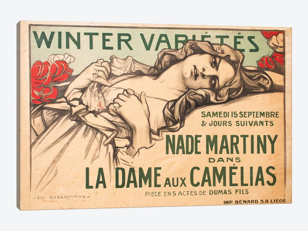 Winter Variétés, La Dame aux Camélias, 1900 by Émile Berchmans 1-piece Canvas Art Print