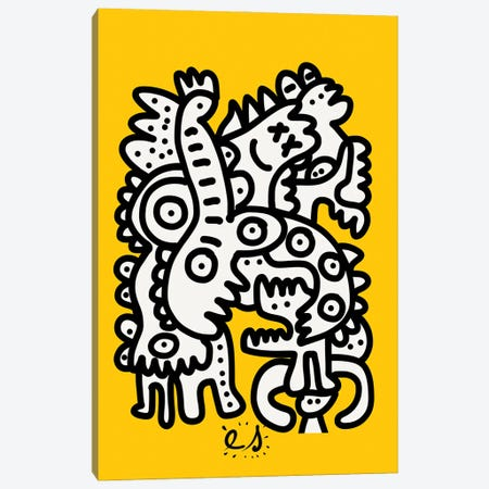 Black And White Graffiti Creatures On Yellow Canvas Print #EMM106} by Emmanuel Signorino Canvas Wall Art