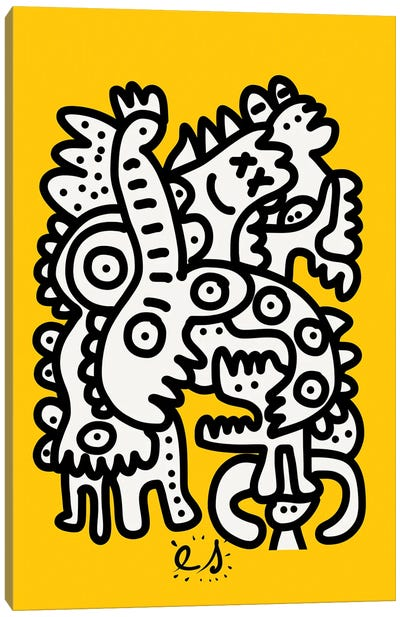 Black And White Graffiti Creatures On Yellow Canvas Art Print