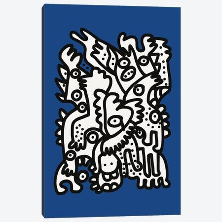 Blue Navy Graffiti Creatures Are Happy Canvas Print #EMM108} by Emmanuel Signorino Art Print