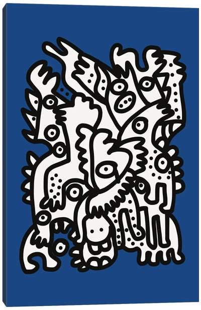 Blue Navy Graffiti Creatures Are Happy Canvas Art Print